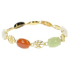 """14K Multi Colored Jade Chinese Character Fortune Bracelet 7.25"""" Yellow Gold [CQQX]"""