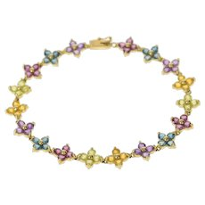 "14K Floral Amethyst Topaz Peridot Flower Tennis Bracelet 7.25"" Yellow Gold [CQQX]"