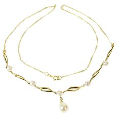"""10K Pearl Drop Diamond Accent Wavy Statement Necklace 16.75"""" Yellow Gold [CQQX]"""