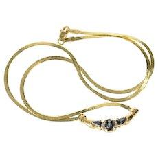"14K Sapphire Diamond Accent Chevron Chain Necklace 16.75"" Yellow Gold [CQQX]"