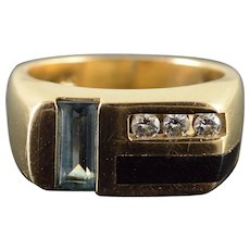 14K 0.90 CTW Blue Topaz Diamond Black Onyx Ring Size 7 Yellow Gold [QWXF]