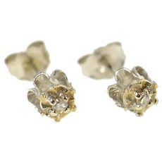 10K Diamond Solitaire Two Tone Classic Stud Earrings Yellow Gold [CQQX]