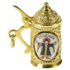 14K Munich Germany Rathaus Enamel Beer Stein Charm/Pendant Yellow Gold [CQQX]