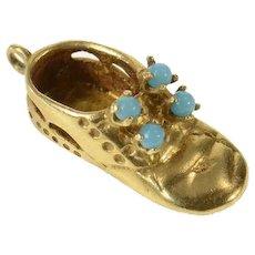 14K 3D Retro Baby Shoe Bootie Turquoise Charm/Pendant Yellow Gold [CQQX]