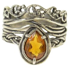 Sterling Silver Pear Citrine Ornate Woven Vine Statement Ring Size 10  [CQQX]