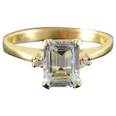 14K 1.78 CTW Blue Topaz Diamond Ring Size 7.5 Yellow Gold [QWXF]