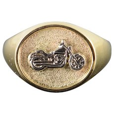 10K Heavy Motorcycle Rider Bike Two Tone Men's Ring Size 11 Yellow Gold [QWXF]