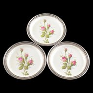 Sterling Silver (3) Rosenthal Floral Motif Saucers    [QWXF]