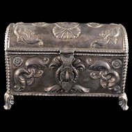 Sterling Silver Japanese Ornate Jewelry Box With Felt Condition: Broken Hinges    [QWXF]