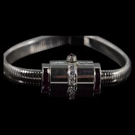 Art Deco Movado Branded Black Starr & Gorham 1.00 Ctw Diamond Ruby