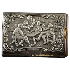 Sterling Silver Ornate Drinking Men In Tavern Match Safe    [QWXK]