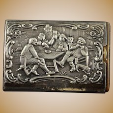 Sterling Silver Ornate Drinking Men In Tavern Match Safe    [QWXK]