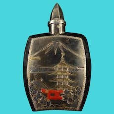 950Sterling Silver Japan Motif Small Flask    [QWXK]