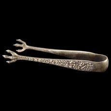 Sterling Silver S. Kirk & Son Co. Sugar Tongs Flower & Claw Motif Rose    [QWXS]