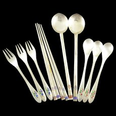 Sterling Silver S & G Enamel Bird Motif Forks Spoons & Chopsticks    [QWXS]