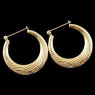 14K Hollow Hoop Scalloped Earrings Yellow Gold  [QPQX]