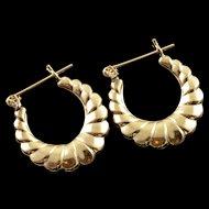14K Scallop Hollow Hoop 20mm Earrings Yellow Gold  [QPQX]