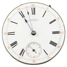 41mm AW CO Waltham Vintage 13 Jewel 14s Riverside Pocket Watch Movement    [QPQX]