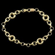 "10K Hollow Bridal Link Horse Bracelet 8.25"" Yellow Gold  [QPQQ]"