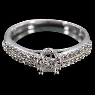 10K 0.25 Ct Princess H/I2 0.45 Ctw Inset Band Diamond Engagement Ring Size 4.5 White Gold [QWXP]