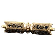 Gold Filled Victorian Mourning Jewelry Hollow Bar Pin/Brooch   [QWXC]
