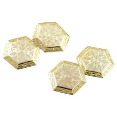 10K Engraved 1940's Hexagon Two Tone Vintage Cuff Links Yellow Gold  [QWXC]