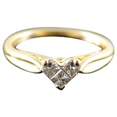 14K 0.25 CTW Princess Cut Invisible Heart Engagement Ring Size 5 Yellow Gold [QWXF]