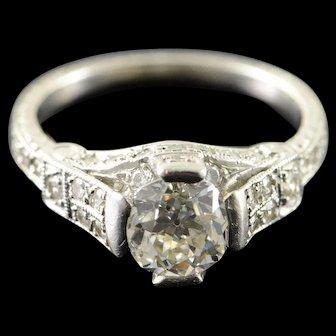 Platinum 1.25 Ct Mine Cut Vintage 0.50 Ctw Cathedral Engagement Ring Size 6.5  [QWXF]