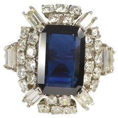 Anastasia 8.17 Ctw Emerald Cut Sapphire Diamond Halo Ring
