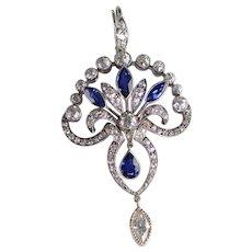 3.29 Ctw Art Deco Sapphire Diamond Platinum Pendant