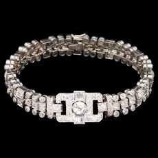 Art Deco Platinum 7 CTW Diamond Bracelet