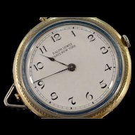 14K Ralph Dewey Paris New York Blue Enamel Pocket Watch  Yellow Gold