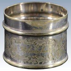 BASE METAL Engraved Silverplate Napkin Ring    [QPQQ]