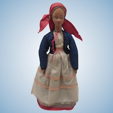 "Wonderful Early Articulated Hand Carved 11"" Wood Doll"