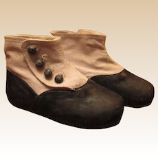 Wonderful Vintage Navy Blue and Cream Color Doll Boots