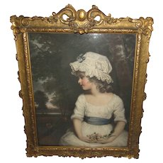 Wonderful Antique Impressionist Portrait Painting of A French Little Girl, Old Exquisite Carved Wood Gilt Frame