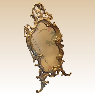 Stunning Antique French Beveled 19C Louis XV Style Brass Repousse Dresser Mirror