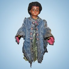 "Extremely Rare Black 13"" Simon & Halbig 1039 Flirty Eyes Twill Body Working Crier Doll"