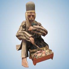 "Large Rare Antique Wax Chinese Smoker Nodder Man 20"""