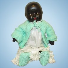 """Beautiful Vintage Composition & Cloth Black Baby Doll With Side Glancing Eyes 16"""" Circa 1920"""