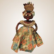Early Cloth black Character Rag Doll, Brazilian Cloth Doll, Felt Features 14""