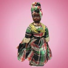 "Early Wonderful Black Rag Cloth Folk Art Character Doll 15"""