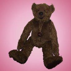 "Adorable 15"" Brown Mohair Teddy Bear, Loud Growler Artist Treva of Brown Shop Bears"