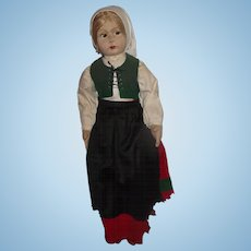 "Wonderful Old Felt Large Cloth Character 25"" Girl Doll Circa 1930's"