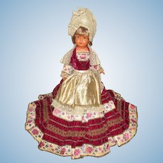 "Vintage Large 20"" Jointed Celluloid Doll In Elaborate Stunning Gown"