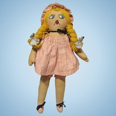 Early Wonderful Old Cloth Rag Character Doll With Stitched Features 20""