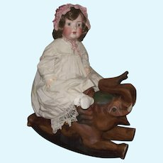 Old Vintage Hand Carved Wood Very Large Exquisite Rocking Horse Elephant