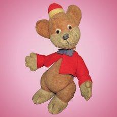 """Vintage 1947 Disney Rare """"Mohair Bongo Circus Bear In Original Outfit"""""""