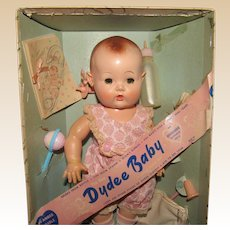 "Vintage Effanbee NM ""Dy Dee Baby Doll Ellen"" In Original Box, Wrist Tag & Accessories 11"" Tall Circa 1940's"