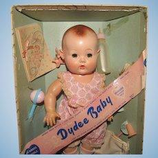 "Vintage Effanbee NM ""Dy Dee Baby Doll Ellen"" In Original Box, Wrist Tag & Accessories 11"" Tall Circa 1940's"